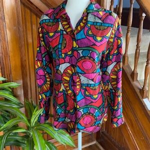 Vintage Silk awesome artistic print blouse